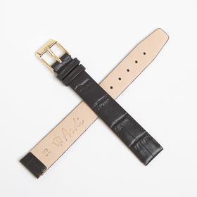Ремень кожаный, присоед. р-р 16 мм, темно-коричневый, отделка крокодил, удлиненный Ош