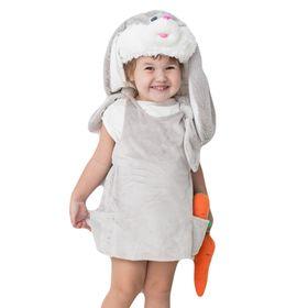 Детский карнавальный костюм «Заюша», шапка, платье, мягконабивная морковка, 1-2 года, рост 92 см