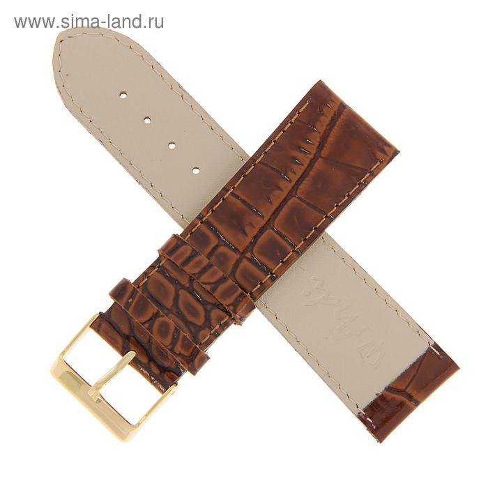 Ремень кожаный, присоед. р-р 24 мм, отделка анаконда, светло-коричневый