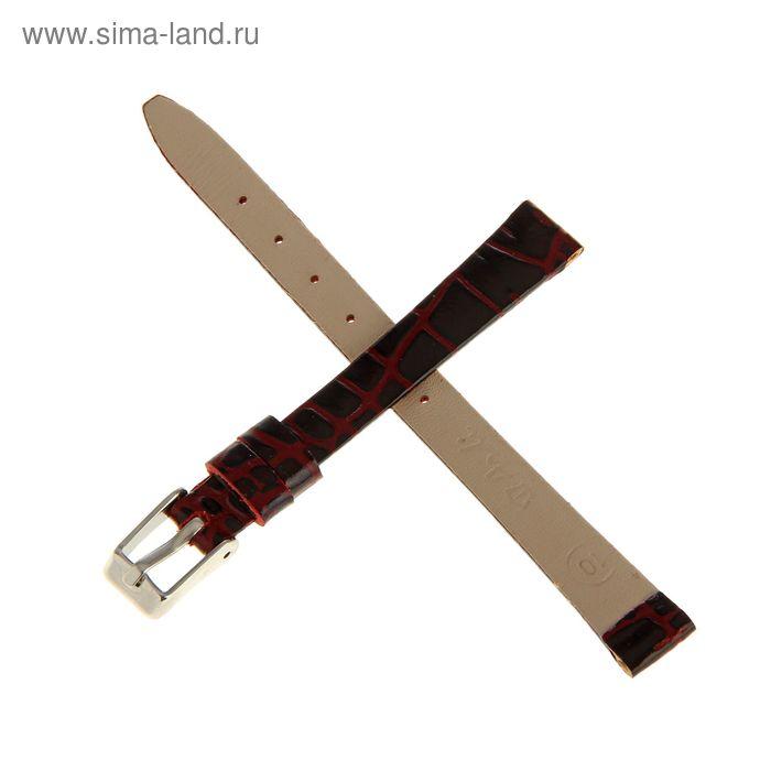 Ремень кожаный женский, присоед. р-р 10 мм, отделка анаконда, бордо   1182174