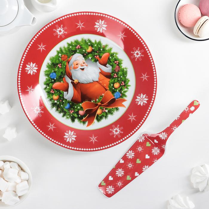 """Тортовница 27 см """"Дед Мороз"""", с лопаткой"""