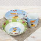 """Набор детской посуды """"Цветочная фея"""", 3 предмета: кружка 230 мл, миска 400 мл, тарелка 18 см"""
