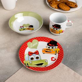 Набор детской посуды «Влюблённые машинки», 3 предмета: кружка 230 мл, миска 400 мл, тарелка 18 см