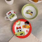 Набор детской посуды «Влюблённые машинки», 3 предмета: кружка 230 мл, миска 400 мл, тарелка 18 см - фото 105458221