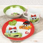 Набор детской посуды «Влюблённые машинки», 3 предмета: кружка 230 мл, миска 400 мл, тарелка 18 см - фото 105458222