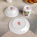 Набор детской посуды «Влюблённые машинки», 3 предмета: кружка 230 мл, миска 400 мл, тарелка 18 см - фото 105458223