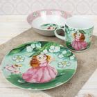 Набор детской посуды «Дуняша», 3 предмета: кружка 230 мл, миска 400 мл, тарелка 18 см - фото 105458358
