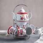 "Tea set ""First color"", 13: 1 l kettle, 6 cups 210 ml, 6 saucers"
