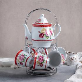 Сервиз чайный Доляна «Первый цвет»,13 предметов: чайник 1 л, 6 чашек 210 мл, 6 блюдец
