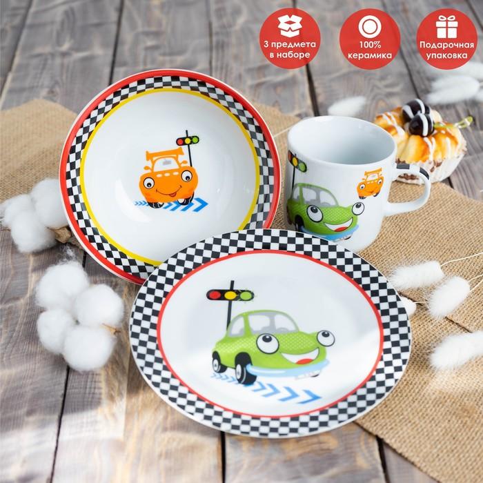 Набор детской посуды «Светофор», 3 предмета: кружка 230 мл, миска 400 мл, тарелка 18 см - фото 105458226