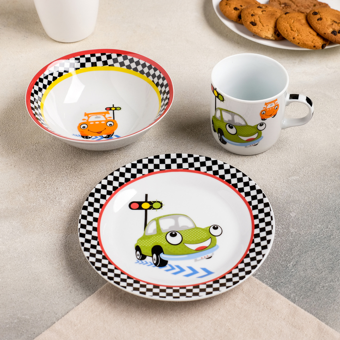 Набор детской посуды Доляна «Светофор», 3 предмета: кружка 230 мл, миска 400 мл, тарелка 18 см - фото 797665812