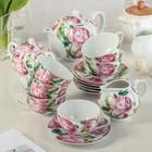 """Сервиз чайный """"Роза в зелени"""", 15 предметов: 6 чашек 220 мл, 6 блюдец d=14 см, чайник 800 мл, молочник, сахарница"""