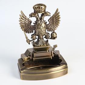 """Зажигалка настольная """"Двухглавый орел"""" с пепельницей, газ, 16х11.3х8.7 см"""
