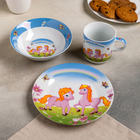 Набор детской посуды «Пони», 3 предмета: кружка 230 мл, миска 400 мл, тарелка 18 см - фото 105458231