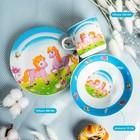 Набор детской посуды «Пони», 3 предмета: кружка 230 мл, миска 400 мл, тарелка 18 см - фото 105458232