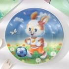 Набор детской посуды Доляна «Заяц футболист», 3 предмета: кружка 230 мл, миска 400 мл, тарелка 18 см - фото 106538529