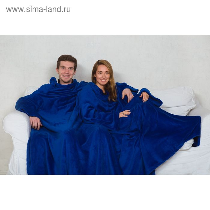 Плед с 4-мя рукавами Sleepy, размер 180х290 см, 60х33 см, 300 гр/м2, цвет васильковый