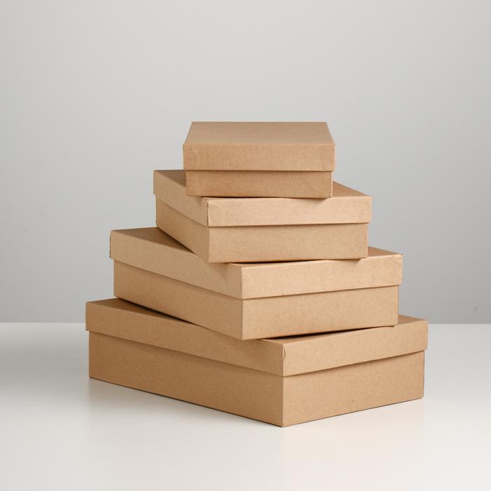 "Набор коробок 4в1 ""Крафт однотонный"", 30 х 20 х 8 - 24 х 14 х 5 см"
