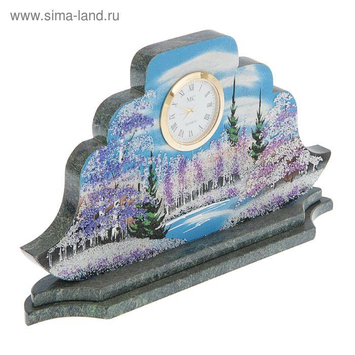"""Часы Наполеон  """"Зима""""27х15х4 см 194424 змеевик"""