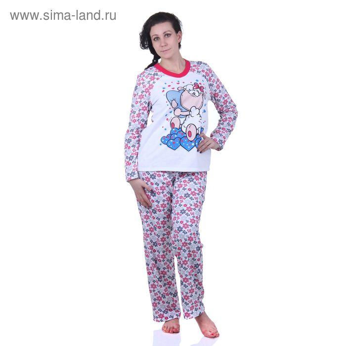Пижама женская (фуфайка, брюки) М320 МИКС, р-р 48 футер