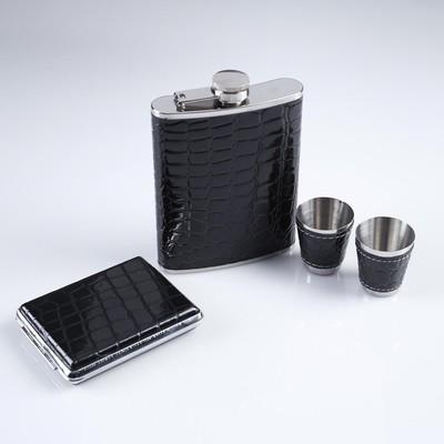 """Подарочный набор """"Черный питон"""" 4 в 1: фляжка 240 мл, 2 рюмки, портсигар, чёрный"""