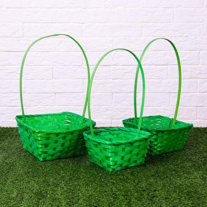 Набор корзин плетёных, бамбук, 3 шт., зелёные, средние