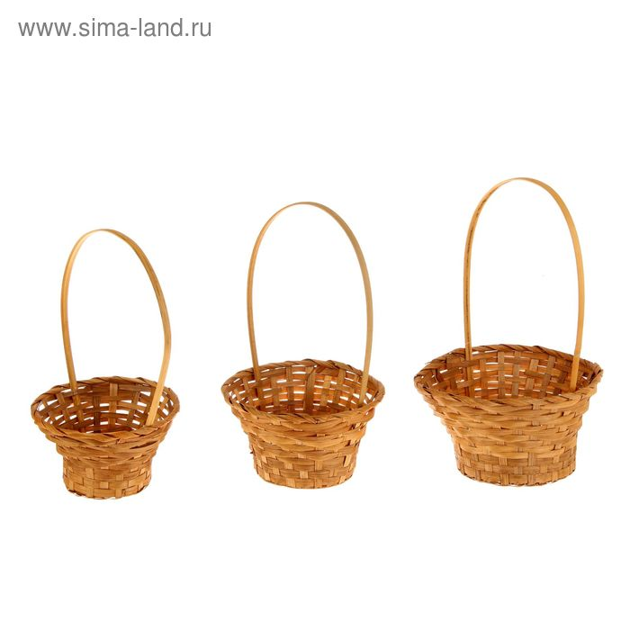 Набор корзин плетёных, коричневых, бамбук, 3 шт.