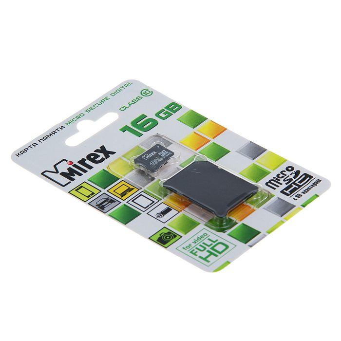 Карта памяти microSDHC MIREX 16Gb (class 10) + адаптер