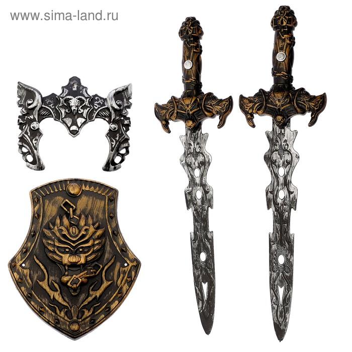"""Набор игровой """"Рыцарь средневековья"""": 2 меча, щит, защитная накладка на голову"""