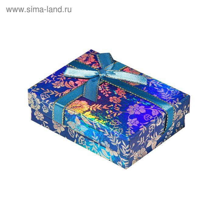 "Коробка подарочная ""Цветочки"", цвет синий"