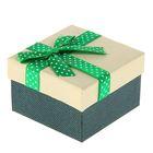 """Коробка подарочная """"Бант"""", цвет зелёный, 9 х 9 х 5,5 см"""
