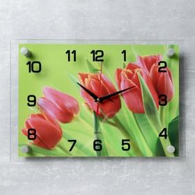 "Часы настенные, серия: Цветы, ""Красные тюльпаны"", 25х35  см, микс"