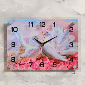 """Часы настенные, серия: Животный мир, """"Голуби в цветах"""", 25х35  см, микс"""