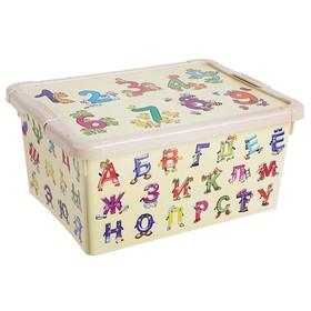 Ящик для игрушек с аппликацией «Буквы и цифры» с крышкой, 8 л, цвет бежевый