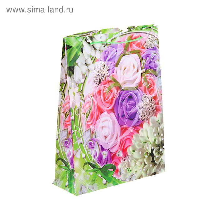 """Пакет пластиковый """"Розы и тюльпаны"""""""