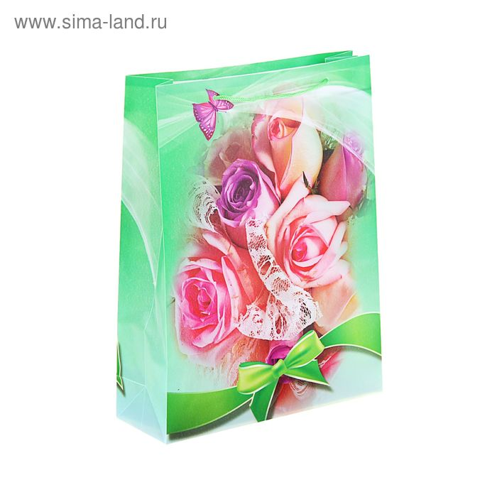 """Пакет пластиковый """"Розы в бантике"""""""