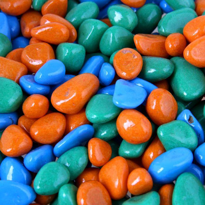 """Грунт для аквариума """"Галька цветная, оранжевый-салатовый-голубой"""" 800г фр 8-12 мм"""