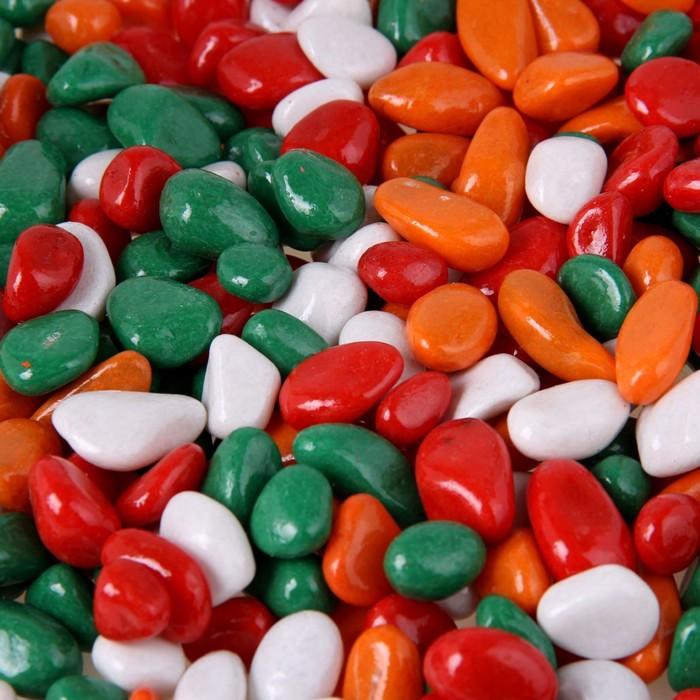"""Грунт для аквариума """"Галька цветная, зеленый-рыжий-красный-белый"""" 800г фр 8-12 мм - фото 699666"""