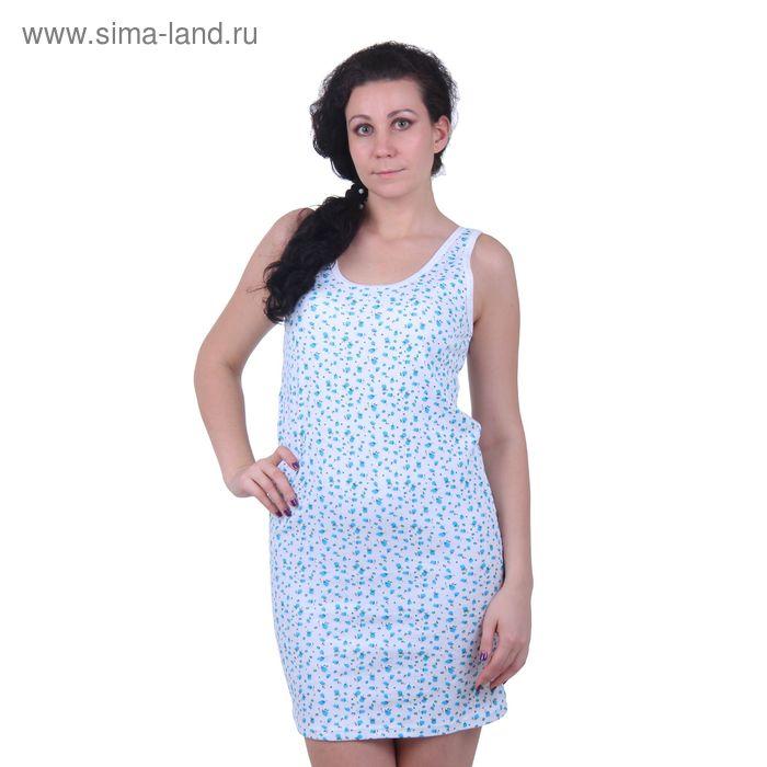 "Сорочка ""бабушкина"" 1748 белый/джульетта/яр.бирюзовый, рост 158,164 см, р-р 46 (92)"
