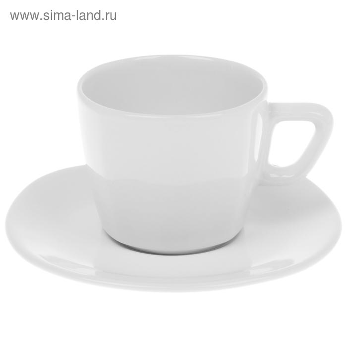 """Чайная пара 200 мл """"Квадратная"""", цвет белый"""