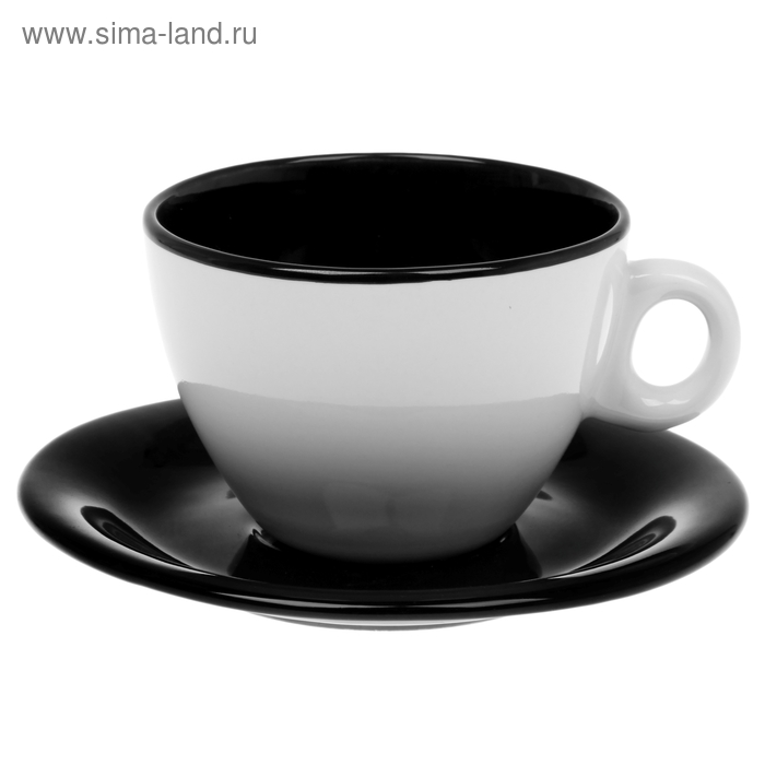 "Чайная пара 220 мл ""Двухцветная"", цвет черный"