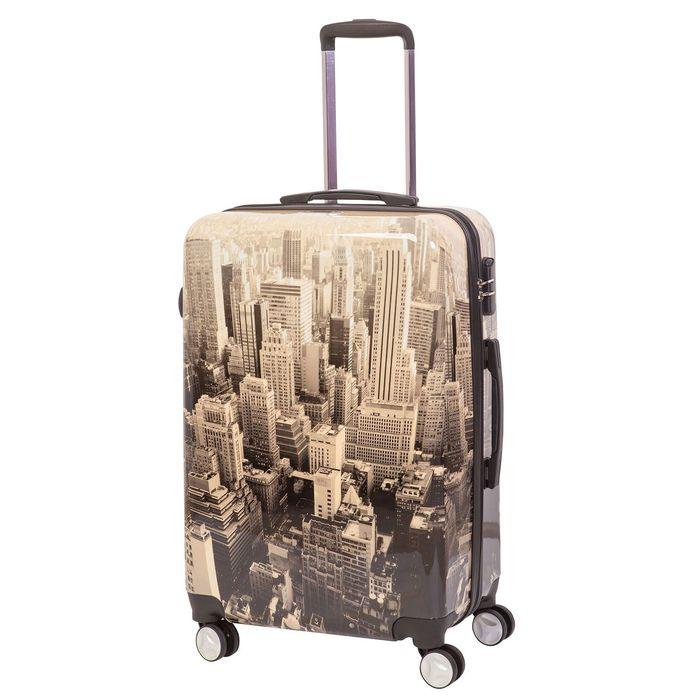 """Чемодан """"New York City"""", средний, 24"""", 68 л, кодовый замок, 4 колеса, разноцветный"""