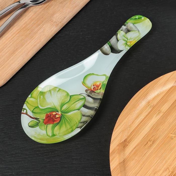 Подставка под ложку Доляна «Зелёная орхидея», 23×8 см - фото 797666828