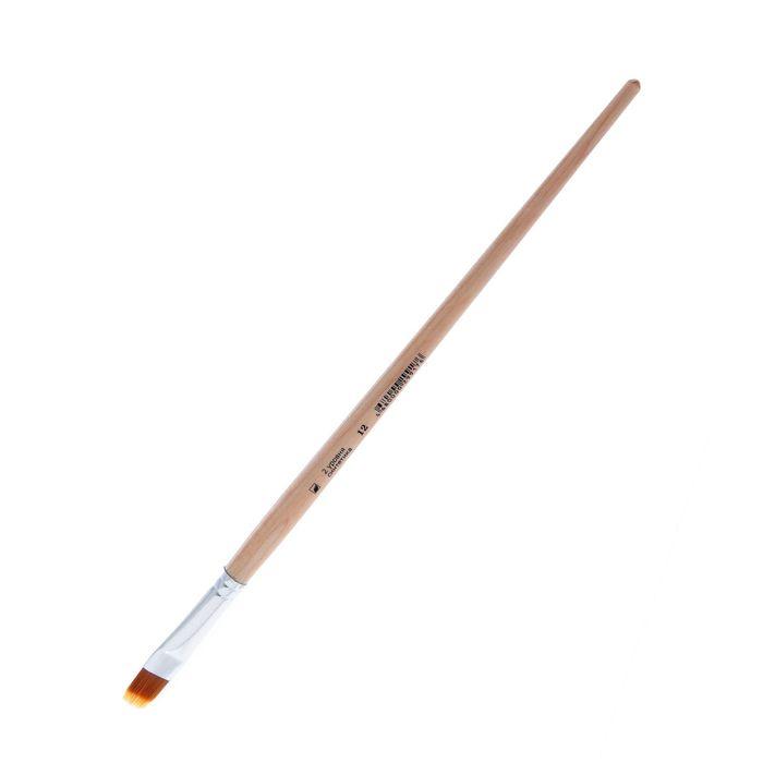 Кисть серии «Хобби» плоская, фигурная № 12, нейлон, d — 14 мм, L — 18/13 мм (удлинённая ручка)