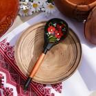 Spoon wooden Chernushka, polabska, Khokhloma
