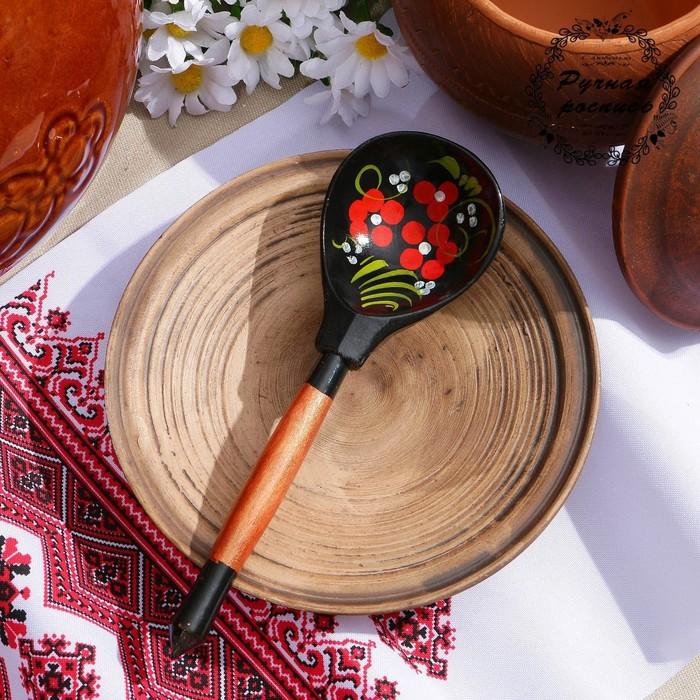 Ложка деревянная «Чернушка», полубаская, хохлома