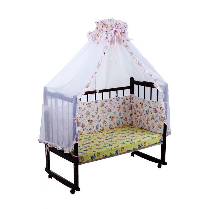 """Комплект в кроватку """"Зверята с игрушками"""" (2 предмета), цвет розовый (арт. 1522)"""