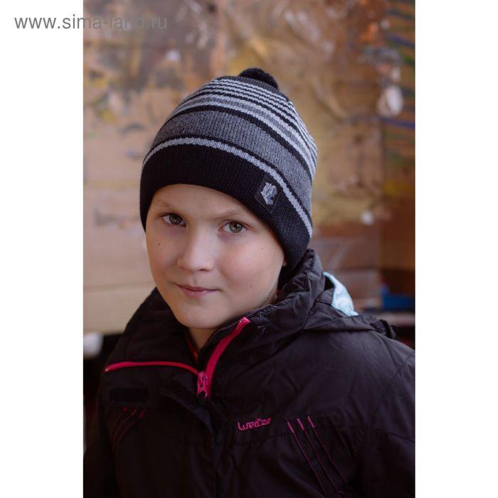 """Шапка подростковая """"ХИП-ХОП"""", размер 54-56, цвет черный/серый 130738"""