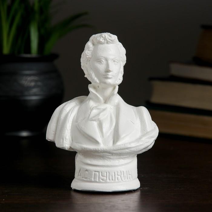 """Бюст """"Пушкин"""", белый, 9× 6× 11.5 см"""