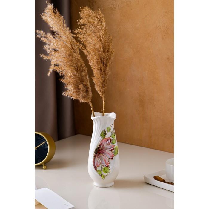 "Ваза настольная ""Весна"", керамика, цветок, белая, 22 см"